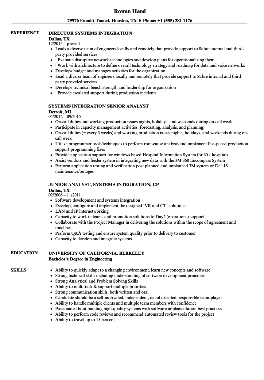 systems integration resume samples