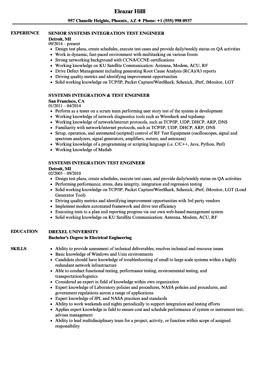 Systems Integration Amp Test Engineer Resume Samples