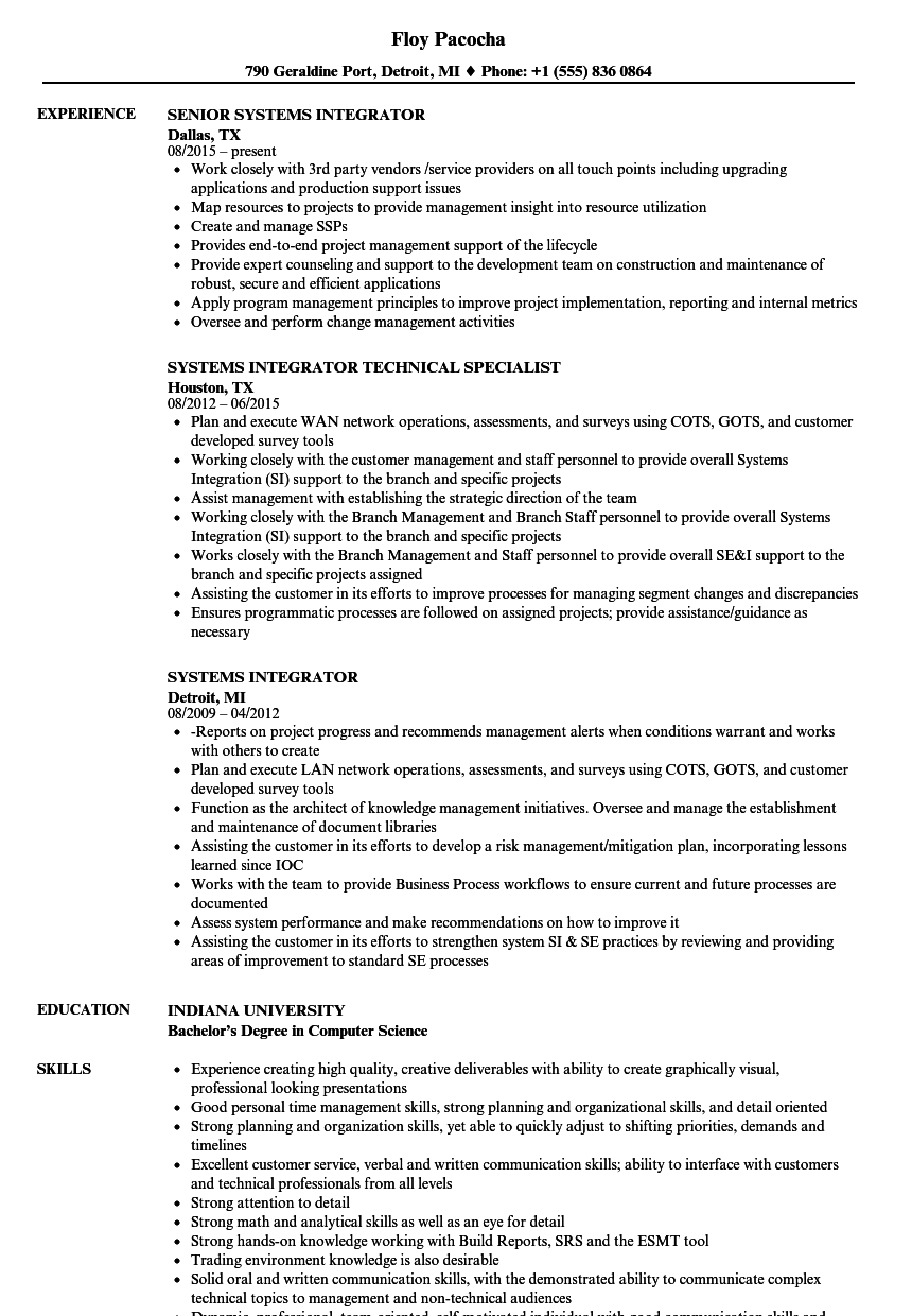systems integrator resume samples