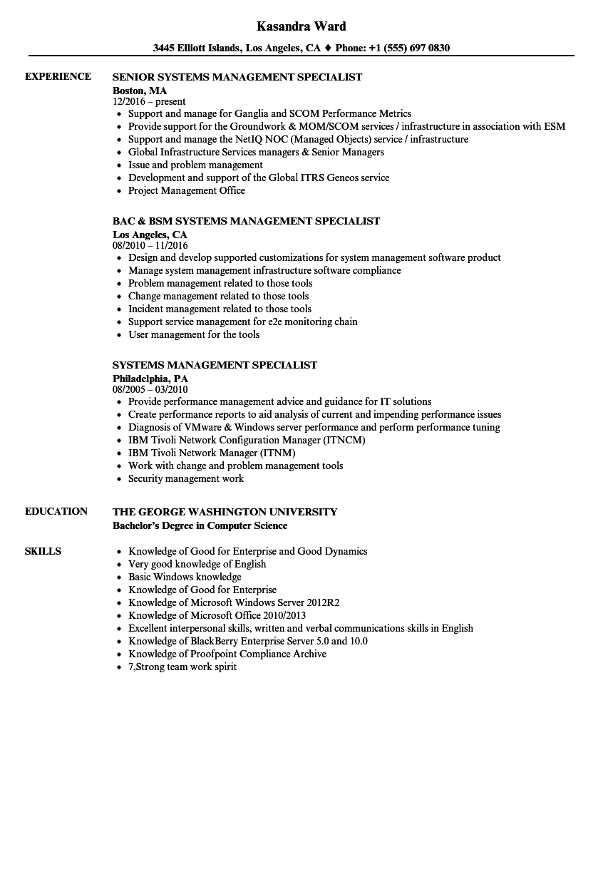 Systems Management Specialist Resume Samples | Velvet Jobs