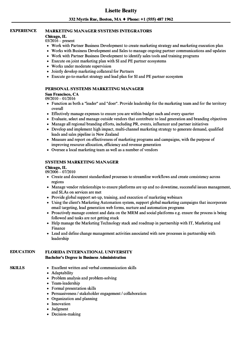 download systems marketing manager resume sample as image file