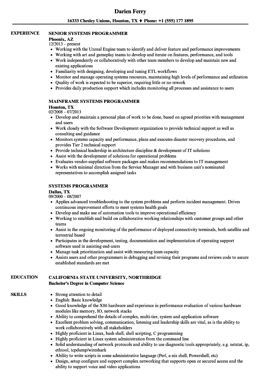 systems programmer resume samples