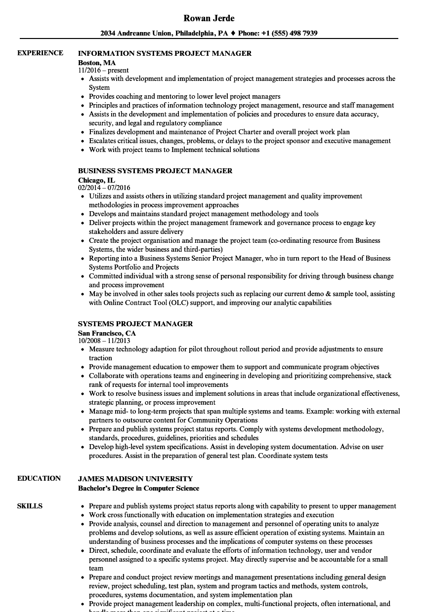 Systems Project Manager Resume Samples | Velvet Jobs