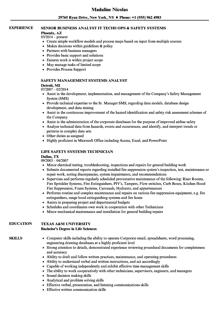 download systems safety resume sample as image file - Resume Samples