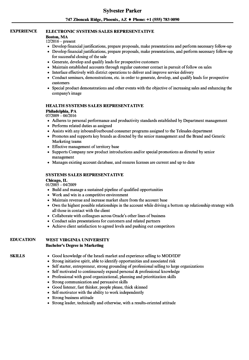 download systems sales representative resume sample as image file - Sale Representative Resume