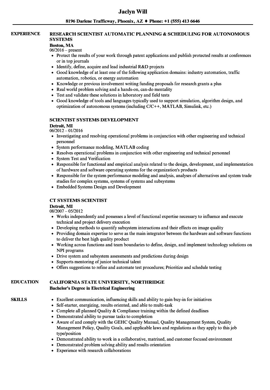 systems scientist resume samples