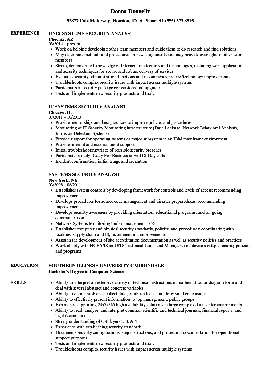 systems security analyst resume samples