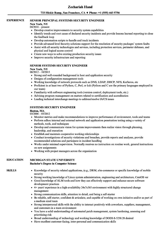 Velvet Jobs  Security Engineer Resume