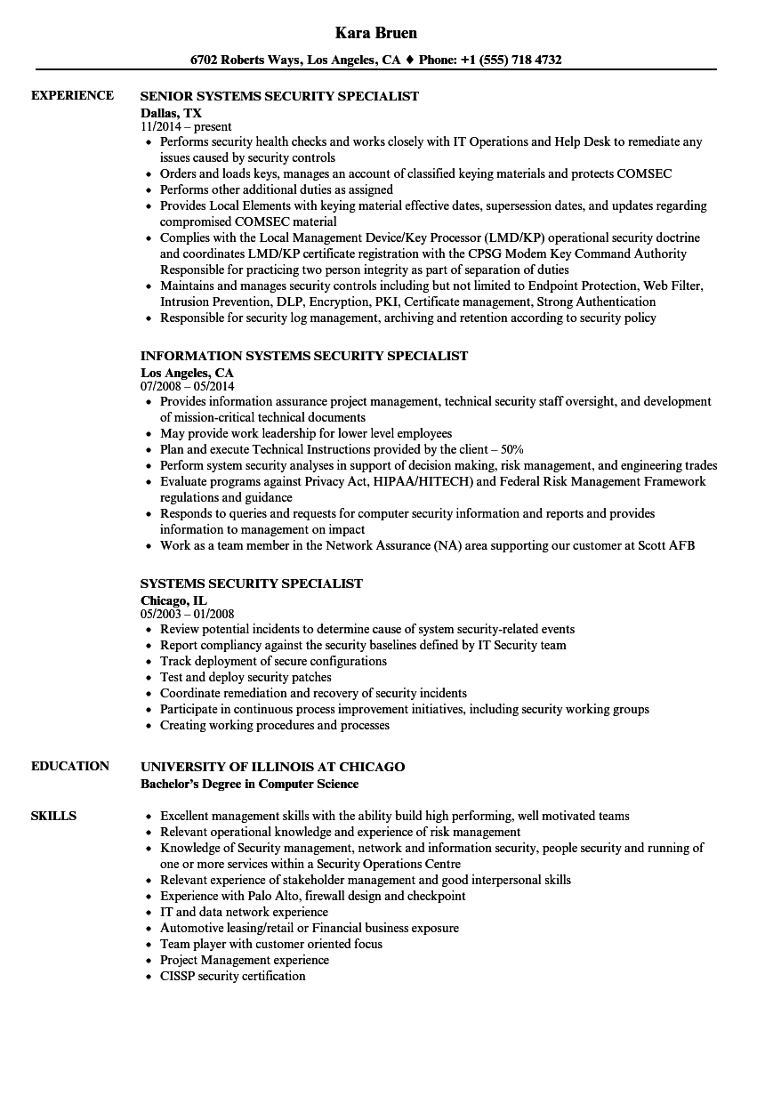 download systems security specialist resume sample as image file