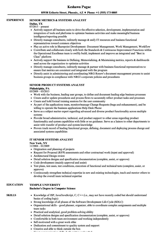 systems senior analyst resume samples velvet jobs