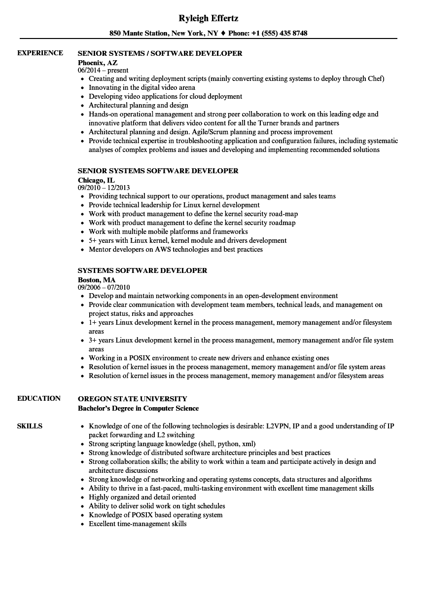 Systems Software Developer Resume Samples | Velvet Jobs