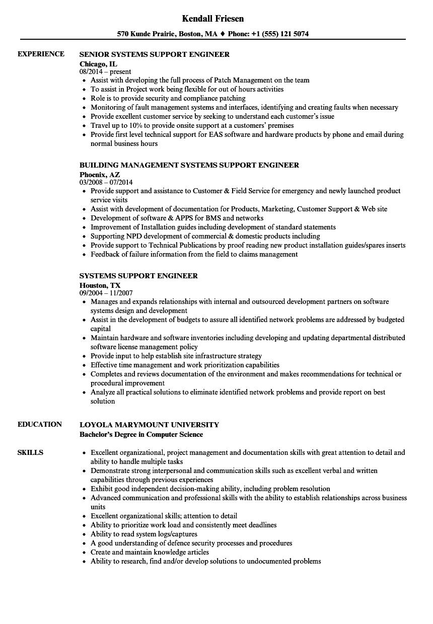 systems support engineer resume samples