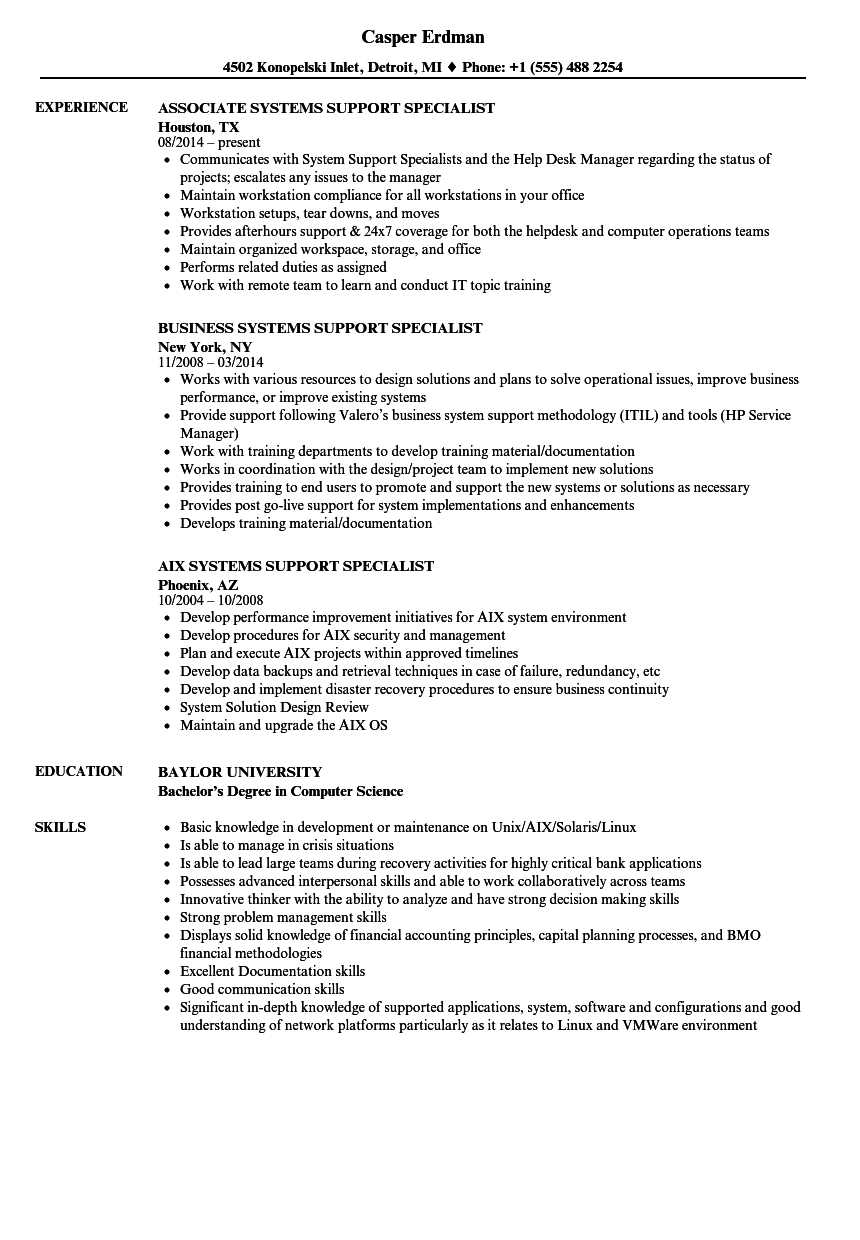 systems support specialist resume samples