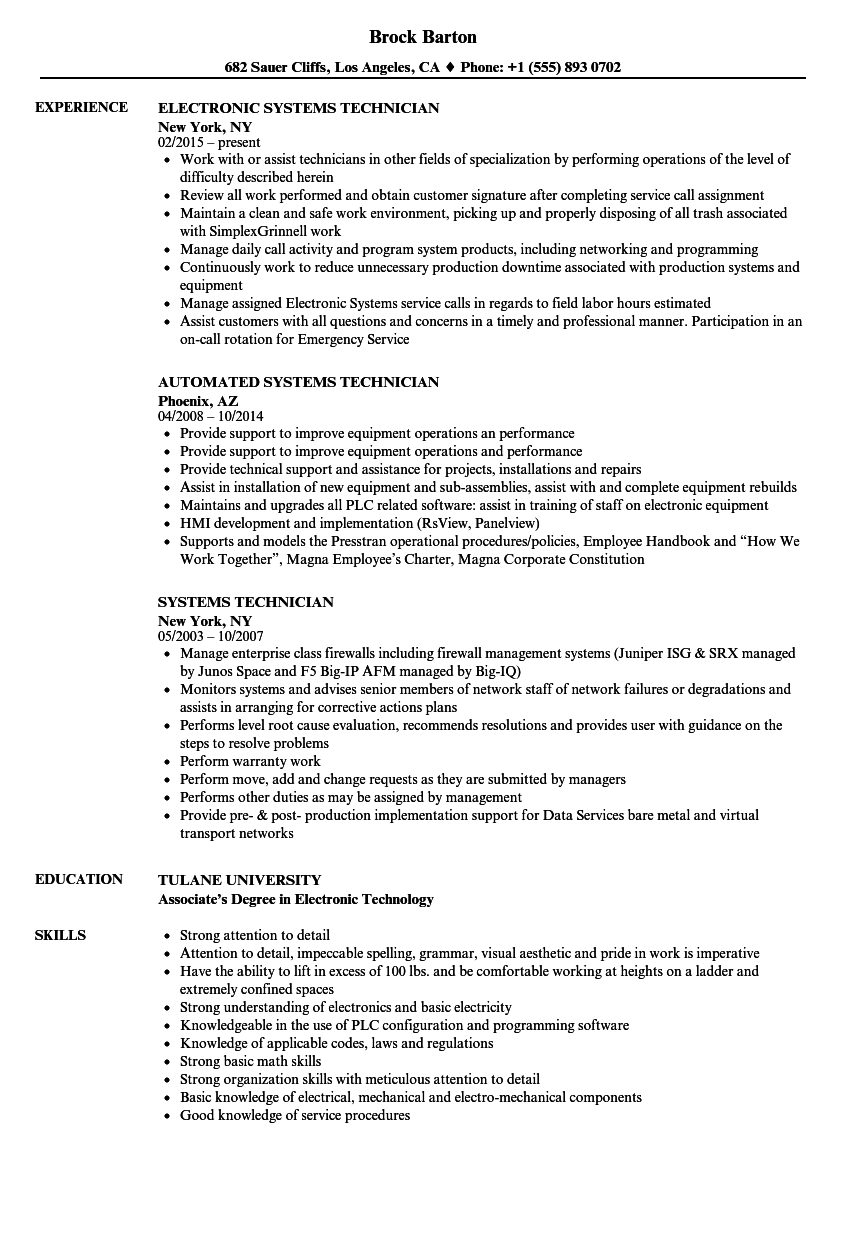 systems technician resume samples