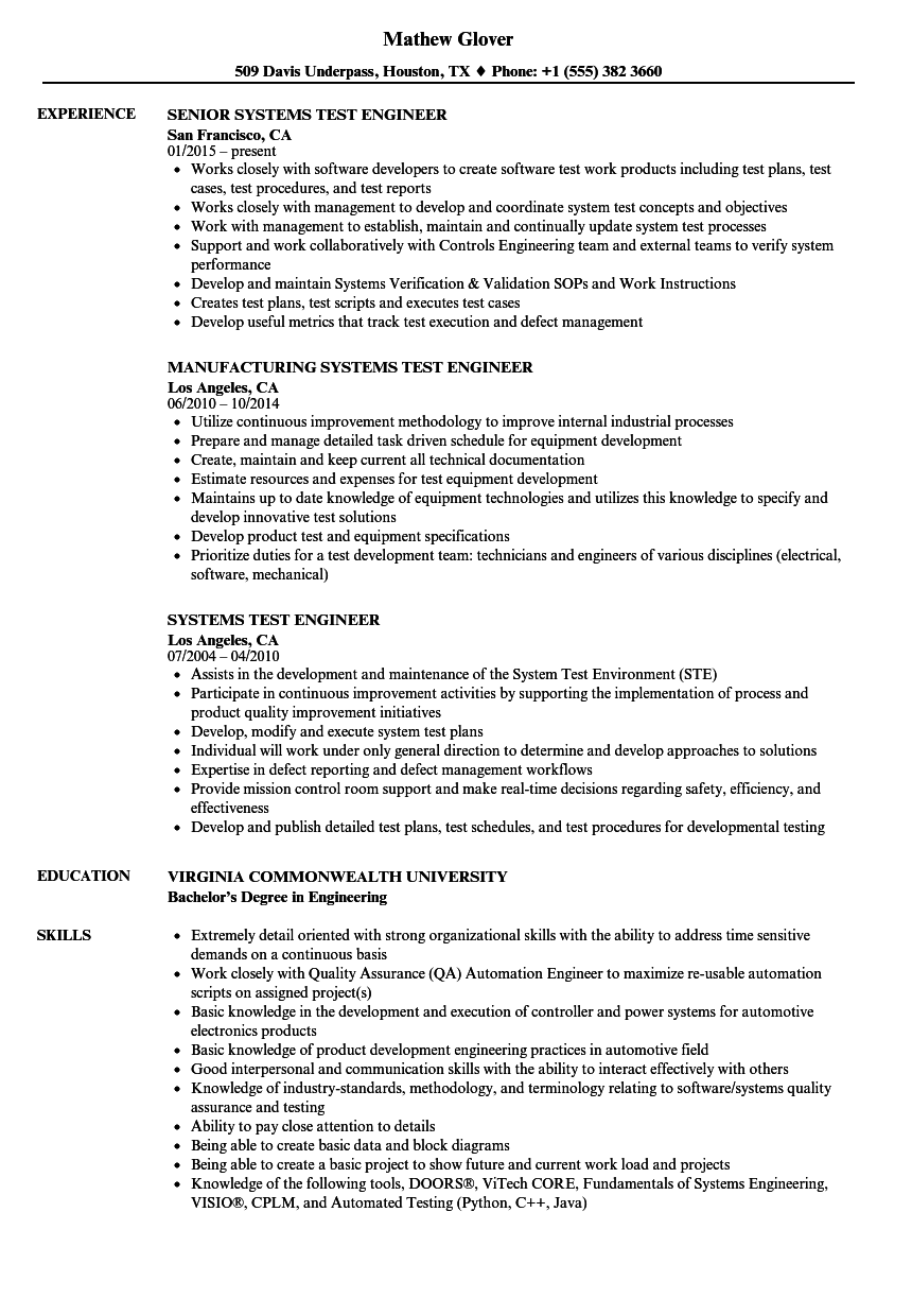 systems test engineer resume samples