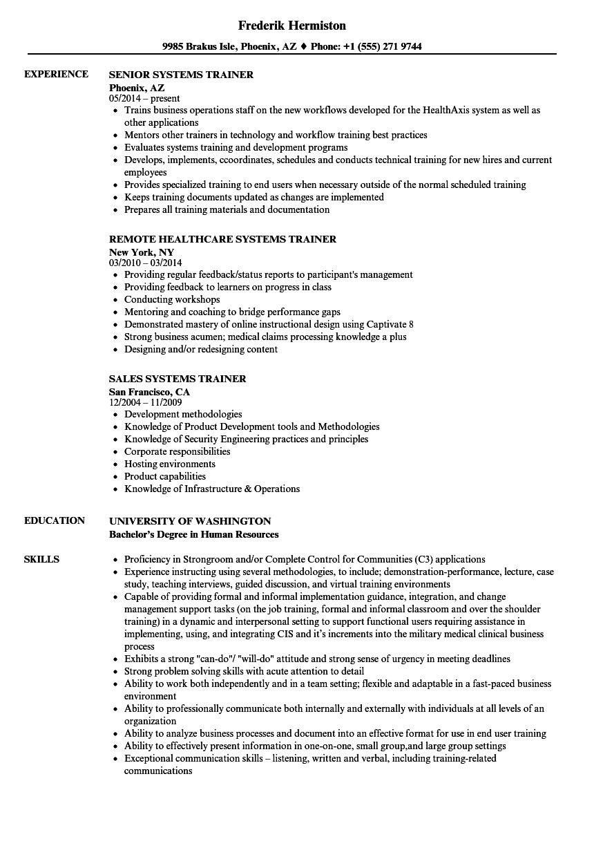 Systems Trainer Resume Samples Velvet Jobs