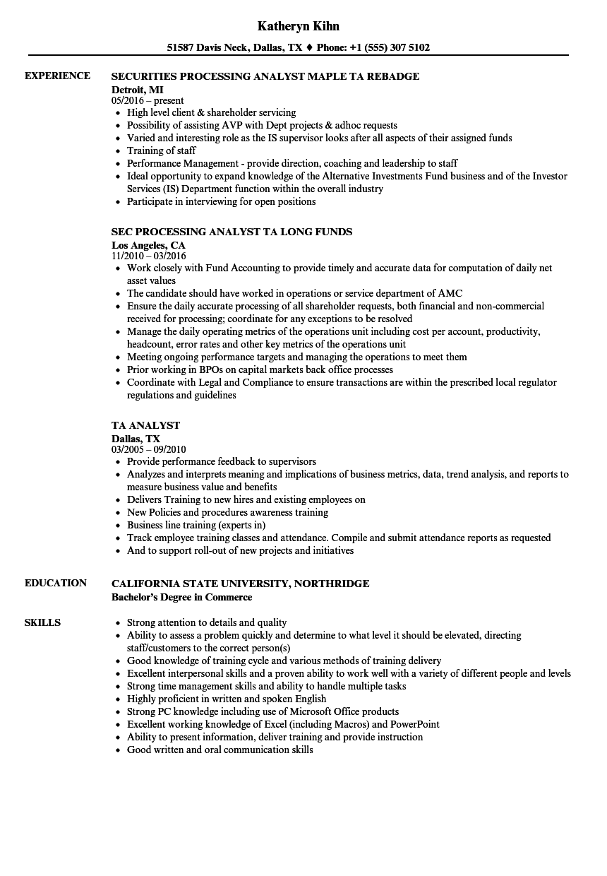 TA Analyst Resume Samples | Velvet Jobs