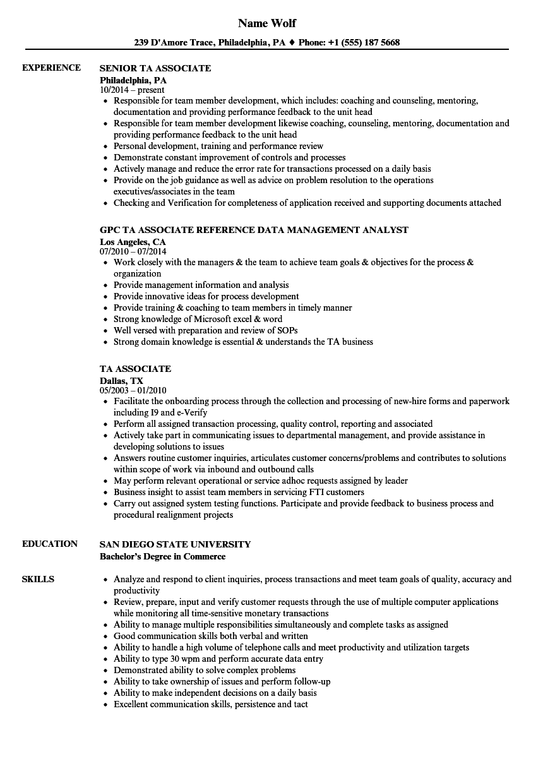 ta associate resume samples velvet jobs