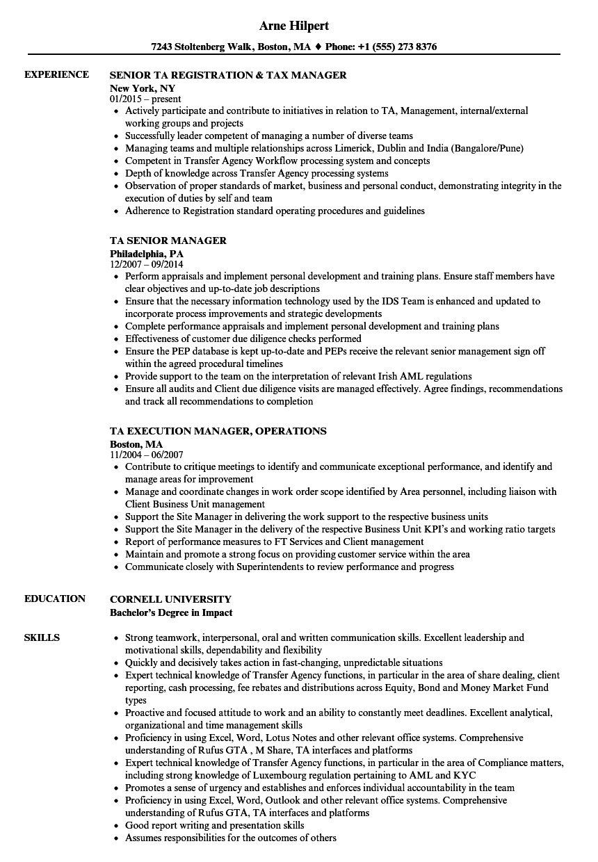 Ta Manager Resume Samples Velvet Jobs