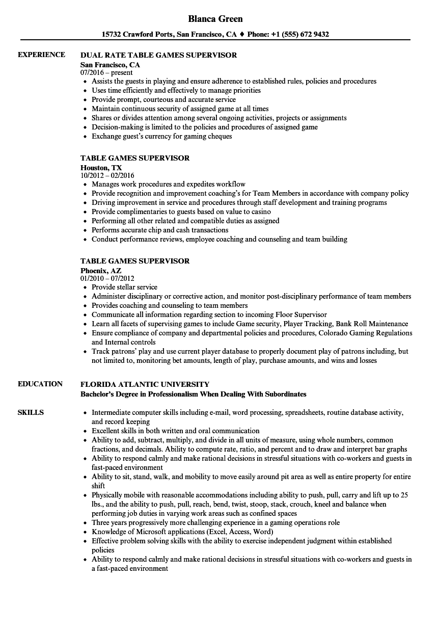 Marvelous Download Table Games Supervisor Resume Sample As Image File