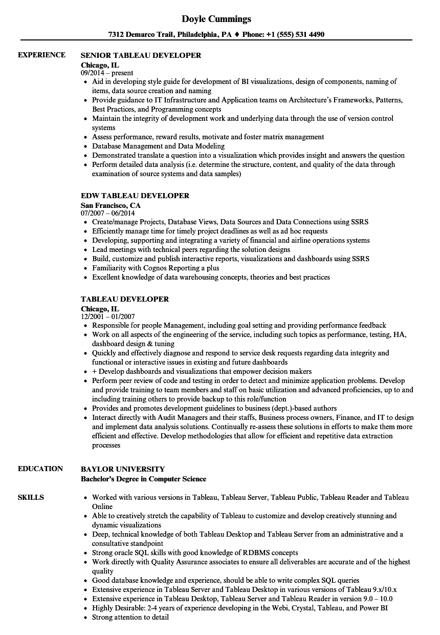tableau developer resume samples velvet jobs
