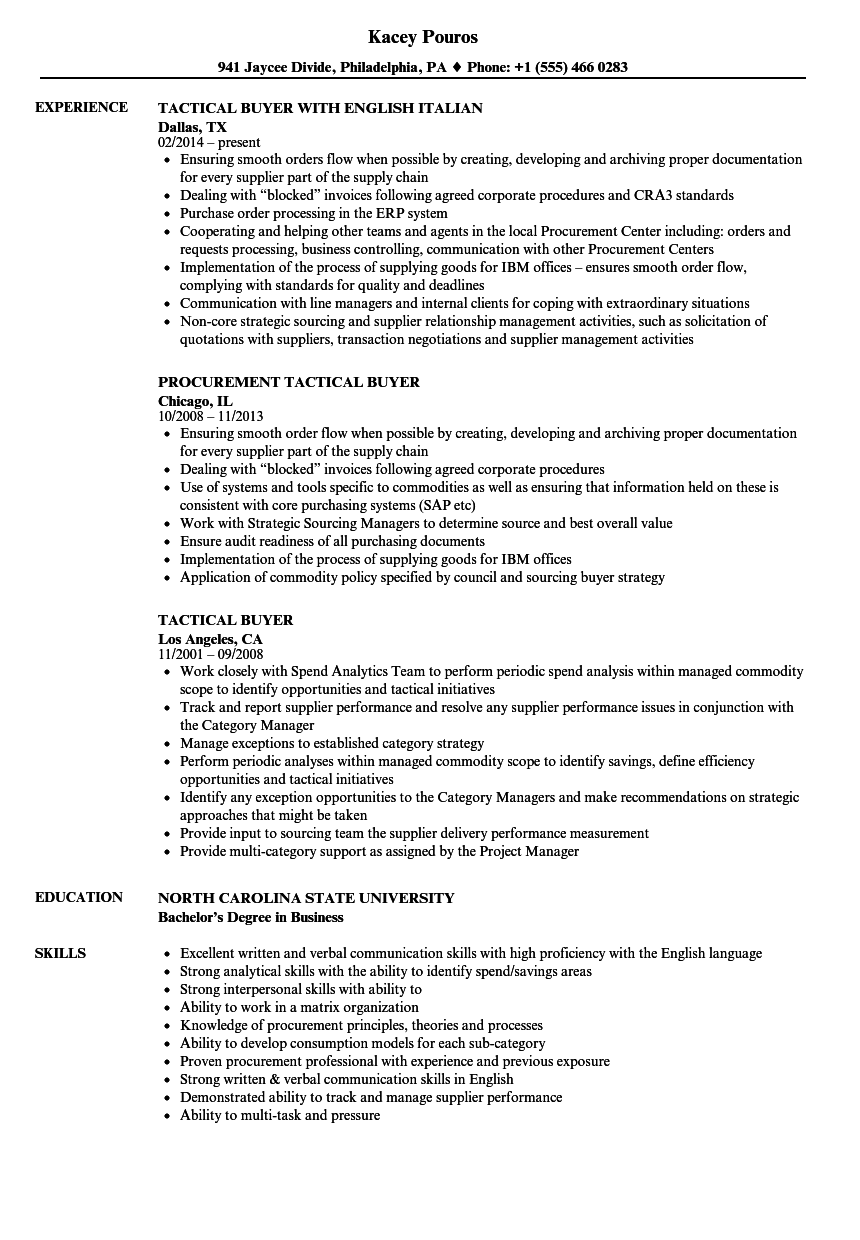 Tactical Buyer Resume Samples Velvet Jobs