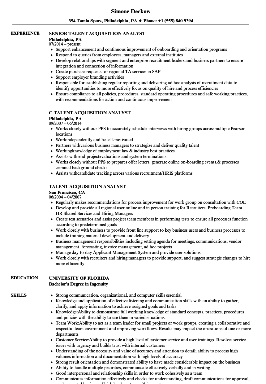 talent acquisition analyst resume samples