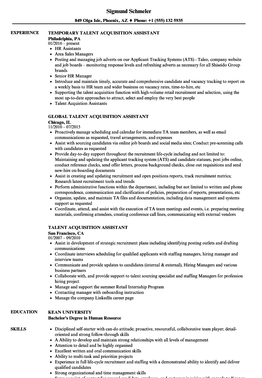 Download Talent Acquisition Assistant Resume Sample As Image File  Talent Acquisition Resume