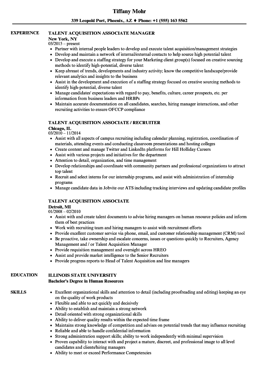 talent acquisition associate resume samples