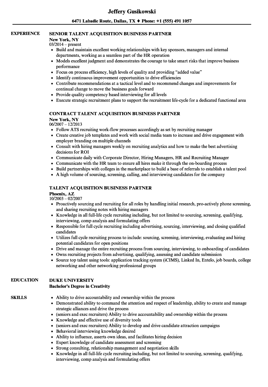 talent acquisition business partner resume samples