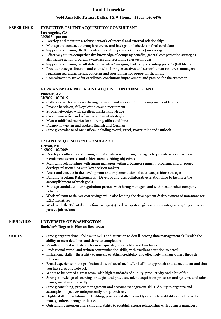 talent acquisition consultant resume samples