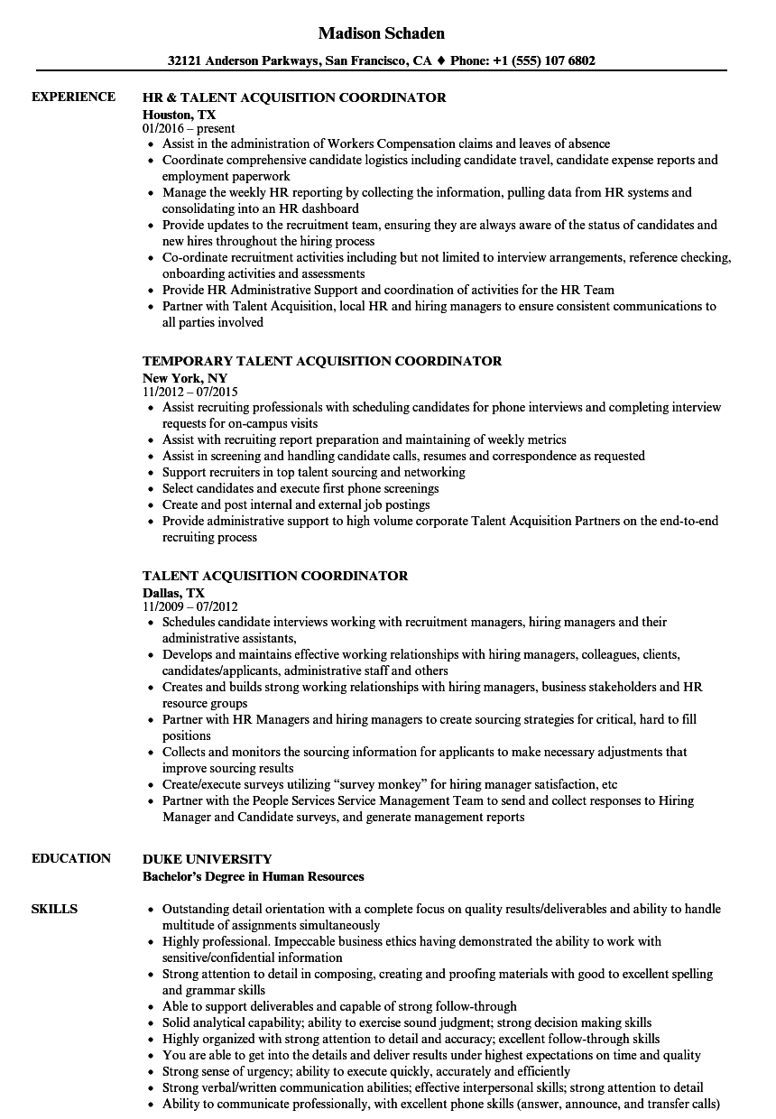 talent acquisition coordinator resume samples