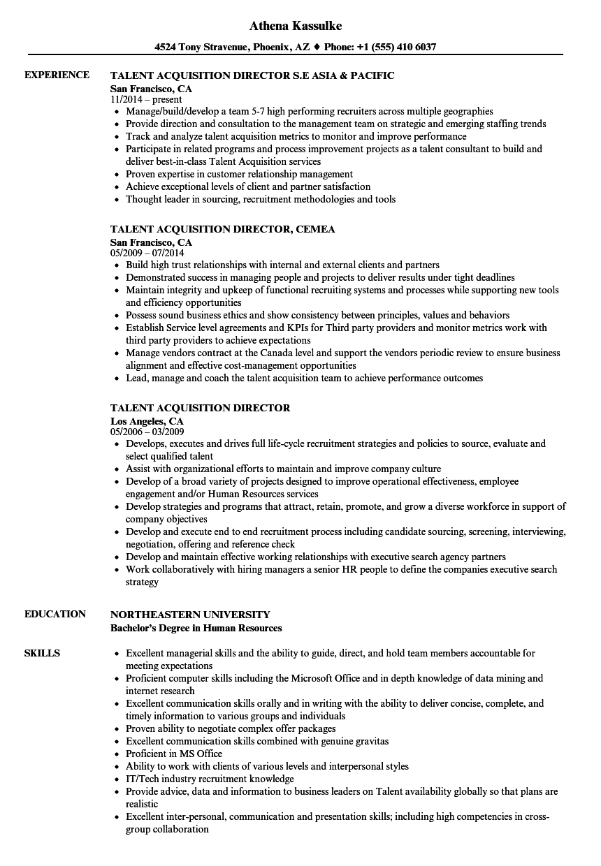 Download Talent Acquisition Director Resume Sample As Image File