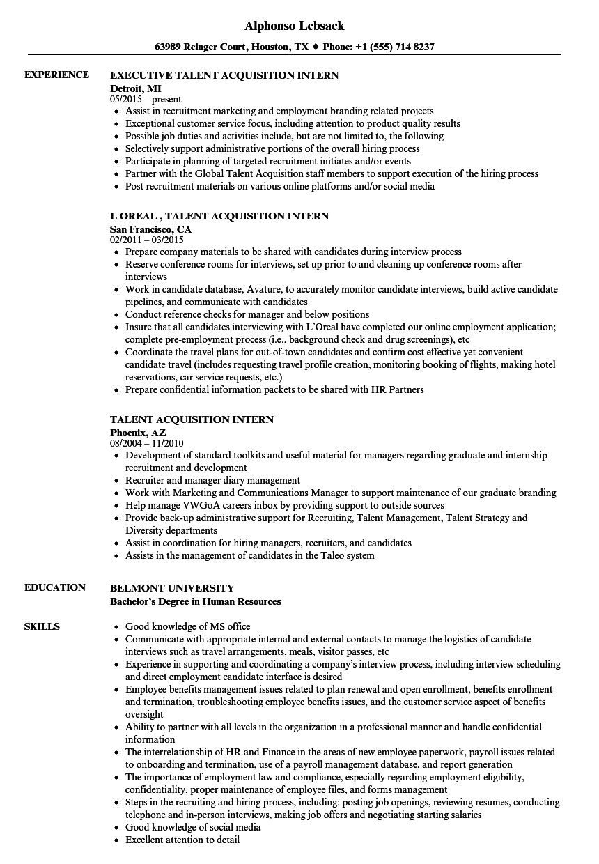 talent acquisition intern resume samples