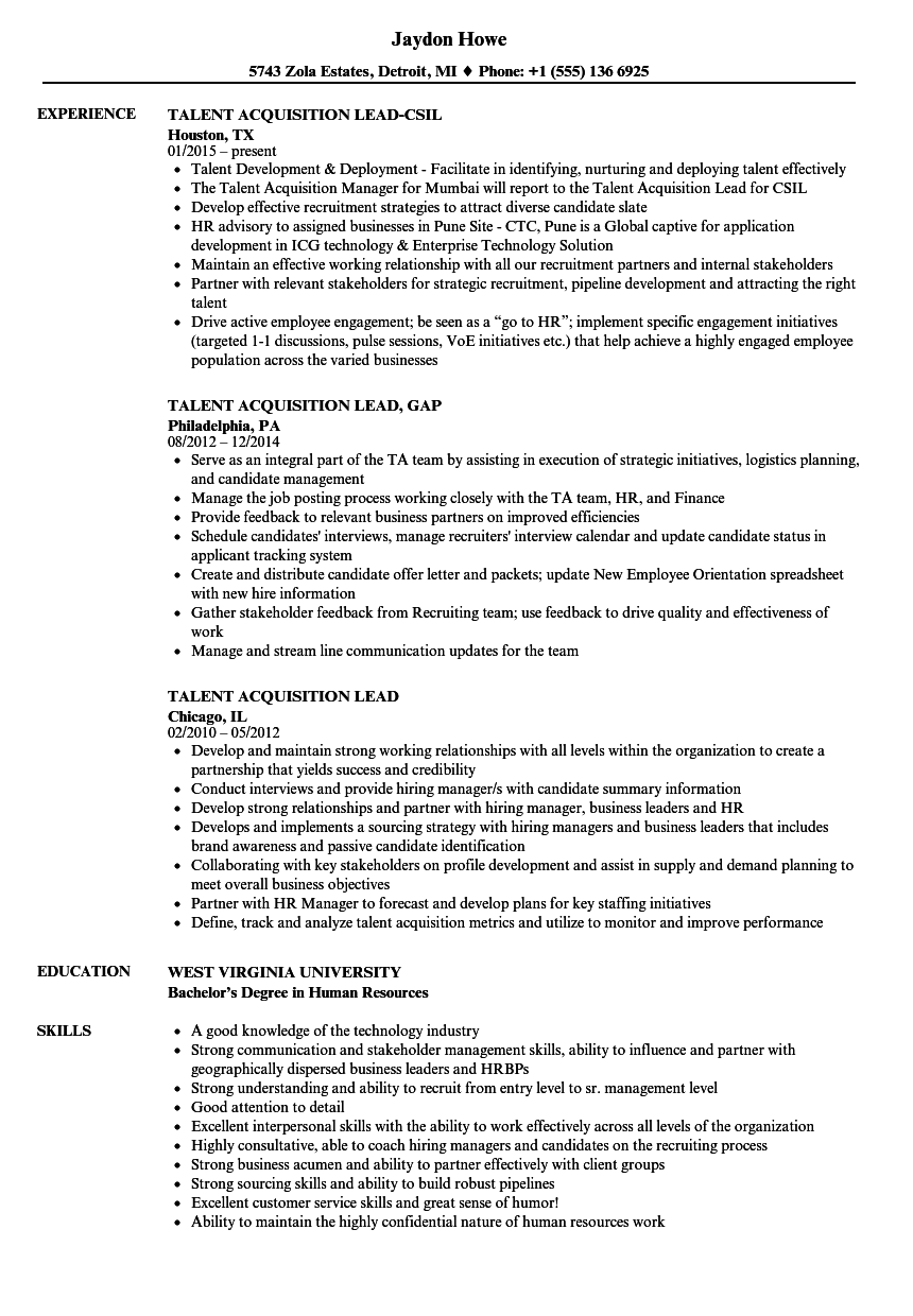 talent acquisition lead resume samples