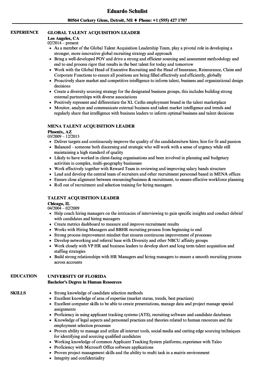 talent acquisition leader resume samples