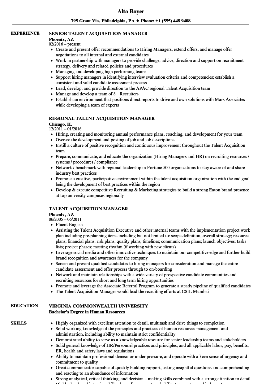 Talent Acquisition Manager Resume Samples | Velvet Jobs