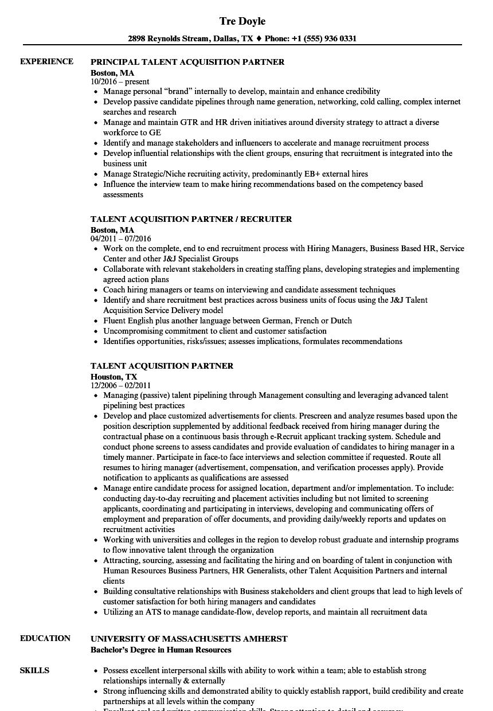 talent acquisition partner resume samples