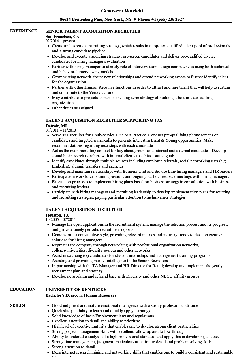 talent acquisition recruiter resume samples