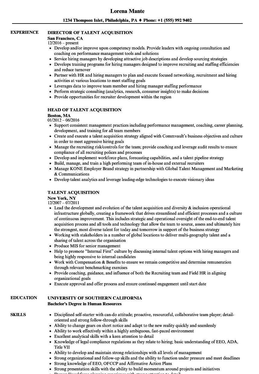 Talent Acquisition Resume Samples | Velvet Jobs