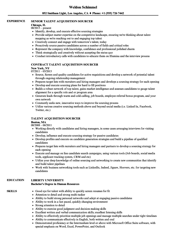 talent acquisition sourcer resume samples  velvet jobs
