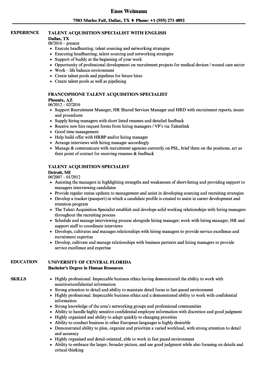 Talent Acquisition Specialist Resume Samples Velvet Jobs