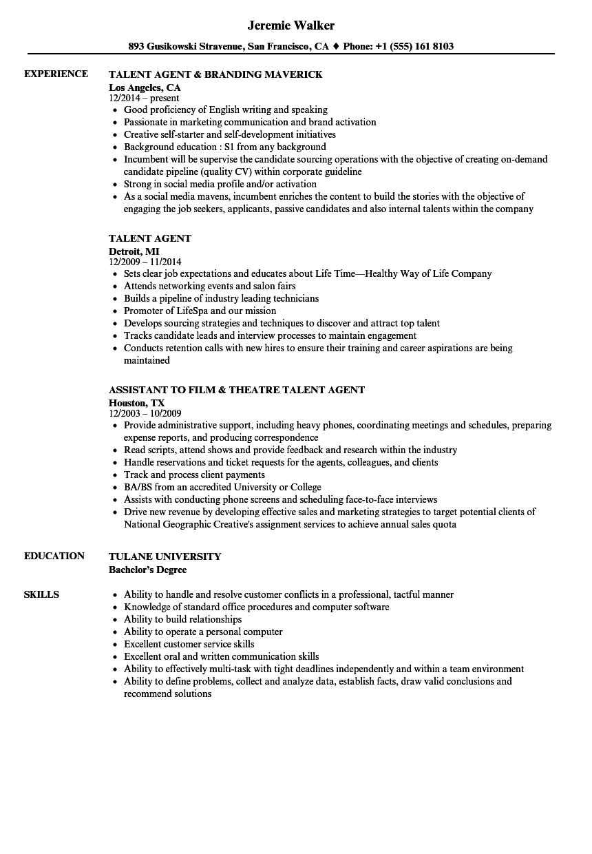 resume Resume For Talent Agency talent agent resume samples velvet jobs download sample as image file