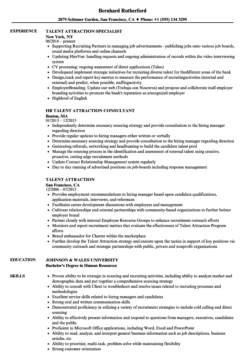 Talent Attraction Resume Samples Velvet Jobs