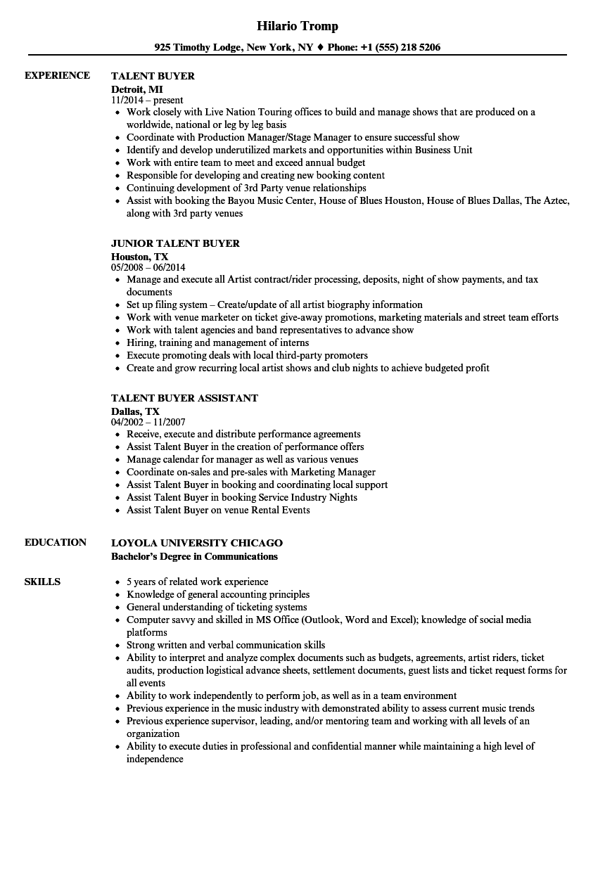 Talent Buyer Resume Samples Velvet Jobs