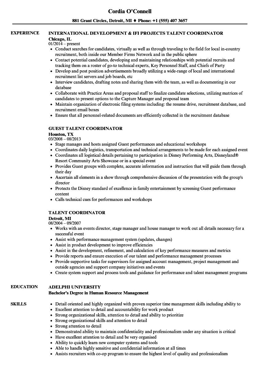 Talent Coordinator Resume Samples | Velvet Jobs
