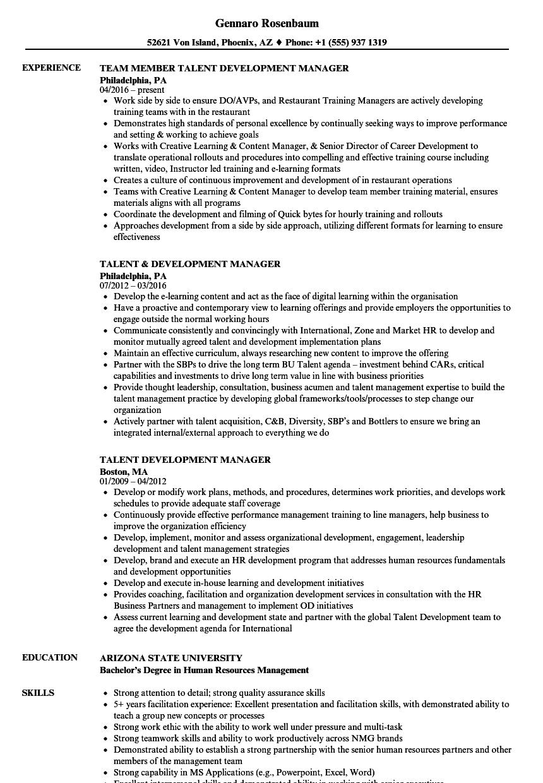 talent development manager resume samples