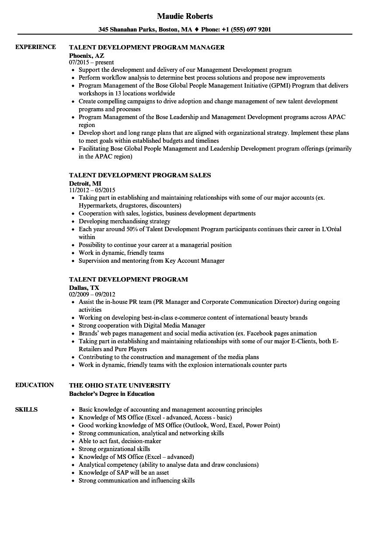 Talent Development Program Resume Samples Velvet Jobs