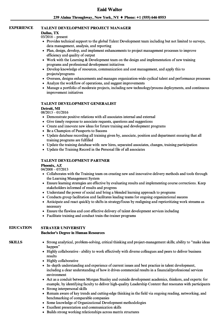 Talent Development Resume Samples Velvet Jobs