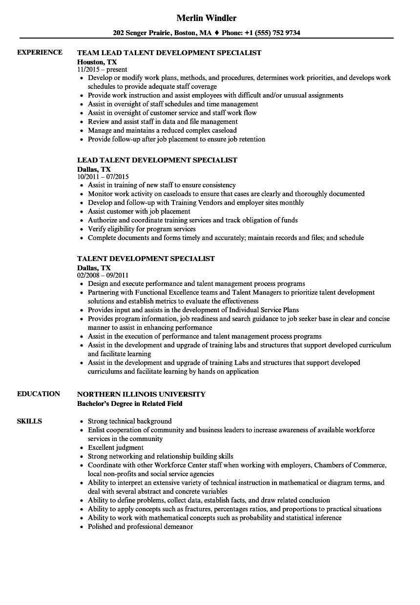 talent development specialist resume samples